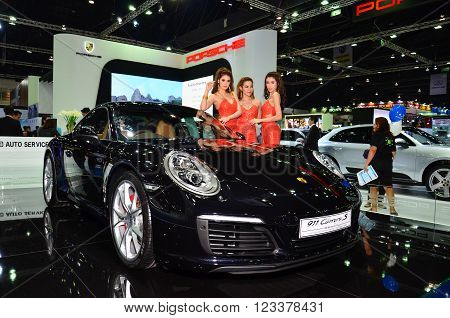 NONTHABURI - MARCH 26: Porsche with Unidentified model on display at The 37th Bangkok International Thailand Motor Show 2016 on March 26 2016 Nonthaburi Thailand.