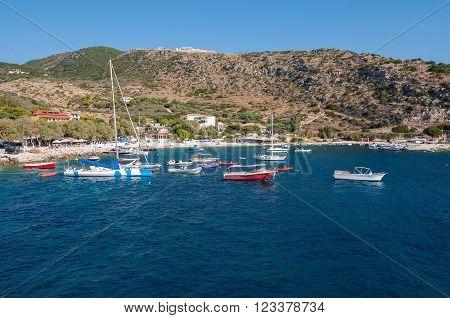 View of Agios Nikolaos port on Zakynthos Greece