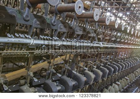 Antique Machinery In Thread Factory