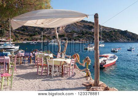 Cafe on the beach at Agios Nikolaos port Zakynthos Greece