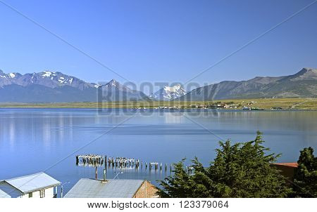 View of the Torres del Paine from Puerto Natales in Chile