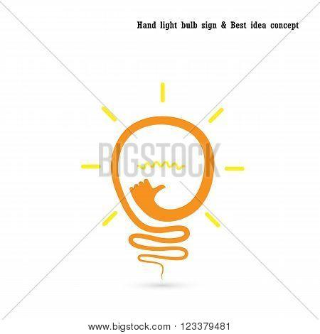 Creative light bulb logo design vector template with small hand.Best ideagood idea sign.Educationbusiness logotype concept.Vector illustration