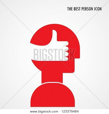 Head symbol with best hand sign.The best person icon.The best ideagood braingood idea sign.Business logotype concept. Vector illustration