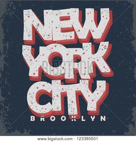 New York t-shirt graphics, Vintage Apparel typography, Artwork stamp print. Retro wear tee print design