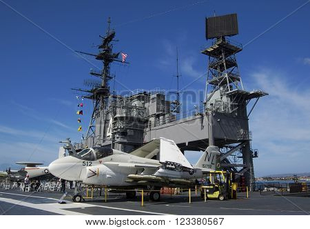 SAN DIEGO California USA - March 13 2016: aircraft carrier USS Midway (CV-41) A-6 Intruder on flying deck museum in San Diego harbour USA