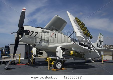 SAN DIEGO California USA - March 13 2016: aircraft carrier USS Midway (CV-41) AD-4W Skyrider on flying deck museum in San Diego harbour USA