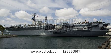 SAN DIEGO California USA - March 13 2016: aircraft carrier USS Midway (CV-41) from port museum in San Diego harbour USA