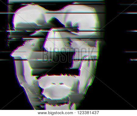 digital glitch scull background