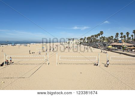 HUNTINGTON BEACH, CA - MARCH 25, 2015: Sand Volleyball Courts. The courts are seen on a sunny Spring day.