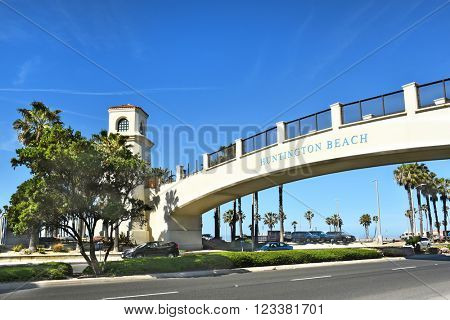 HUNTINGTON BEACH, CA - MARCH 25, 2015: Pedestrian Bridge. The bridge spans the Coast Highway from the Hyatt Regency to the beach side.
