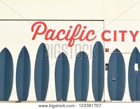 HUNTINGTON BEACH, CA - MARCH 25, 2015: Pacific City Mural. Located on the Pacific Coast Highway, the upscale development features shops and restaurants.
