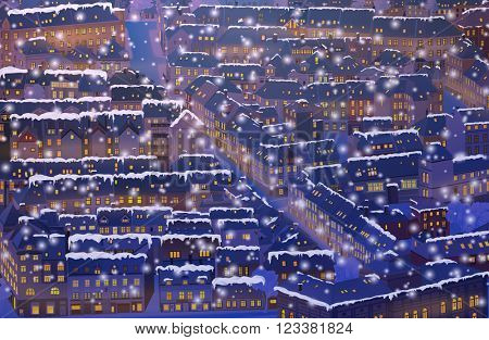 Old traditional Europe city winter background at night