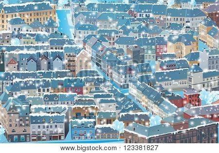 Old traditional Europe city winter background