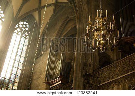 VIENNA, AUSTRIA - OCTOBER 26: Window lighting to chandelier lantern of St. Stephan Cathedral on October 26, 2013 in Vienna.