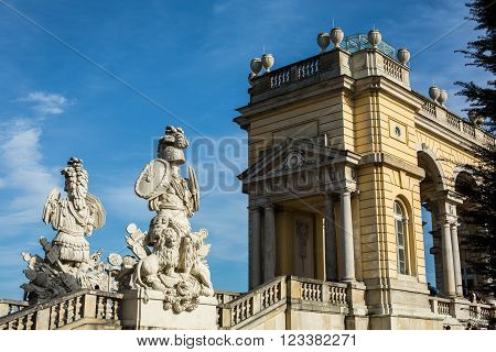 VIENNA, AUSTRIA - OCTOBER 27: Gloriette Garten at Schloss Schonbrunn on October 27, 2013 in Schonbrunn Palace. The palace and its vast gardens spans over 300 years, reflecting the changing tastes of successive Habsburg monarchs.
