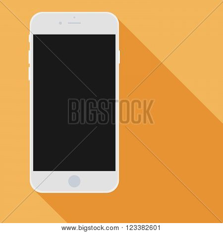 Realistic Mobile Phone With Black Screen And Long Shadows.