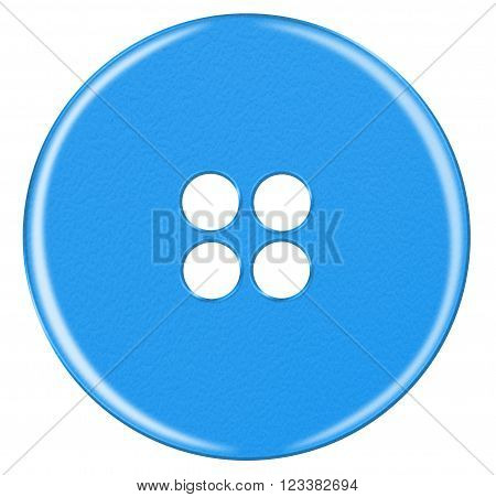 Plastic Button Isolated - Light Blue