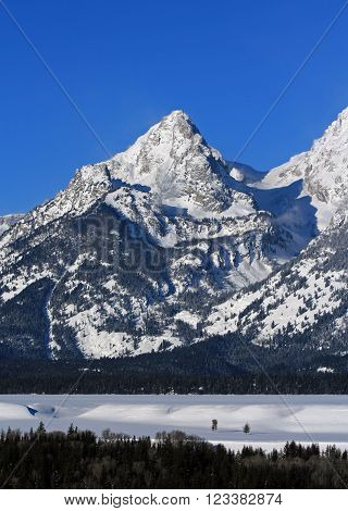 South Teton Mountain Peaks of the Grand Tetons in Grand Tetons National Park in Wyoming USA