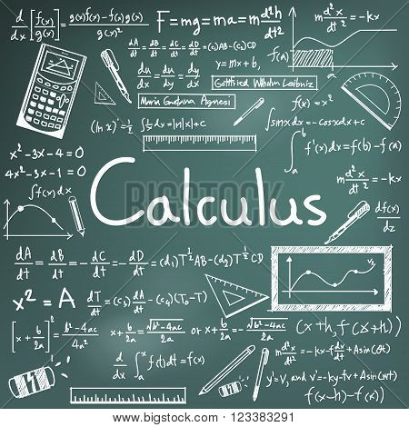 Calculus law theory and mathematical formula equation doodle handwriting icon in blackboard background with handdrawn model for education presentation or subject title create by vector