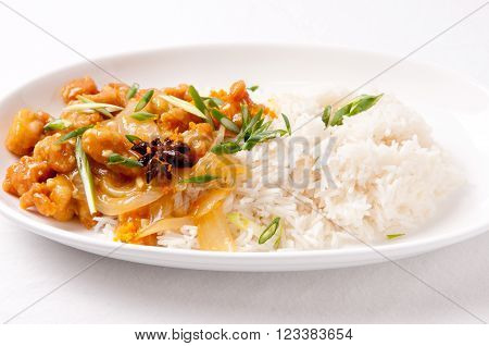 spicy and tangy chicken glazed with orange over white rice with onion