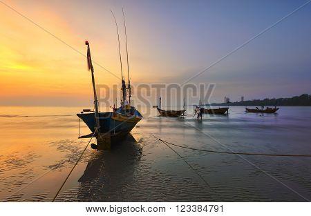Beach sunrise , Beautiful natural summer seascape Thailand.