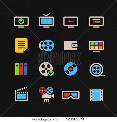 Cinema color web icons collection