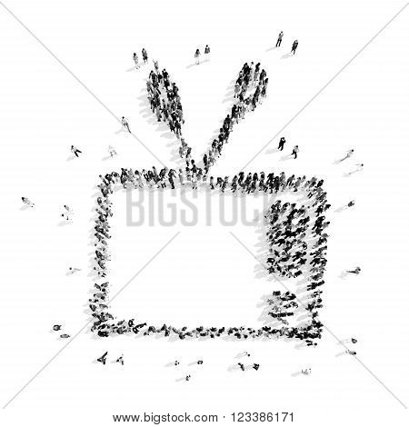 A group of people in the shape of television, cartoon, flash mob.3D illustration.black and white