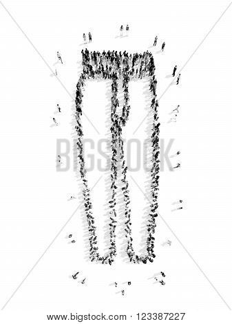 A group of people in the form of pants, a flash mob.3D illustration.black and white