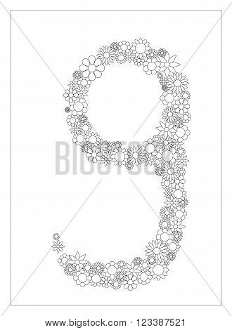 Floral number 9, number nine from flowers coloring page vector illustration, DIY postcard with the place for text, black and white flower ornament for typography