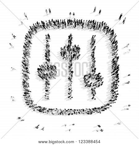 A group of people in the shape of adjustment, a flash mob. 3D illustration.black and white