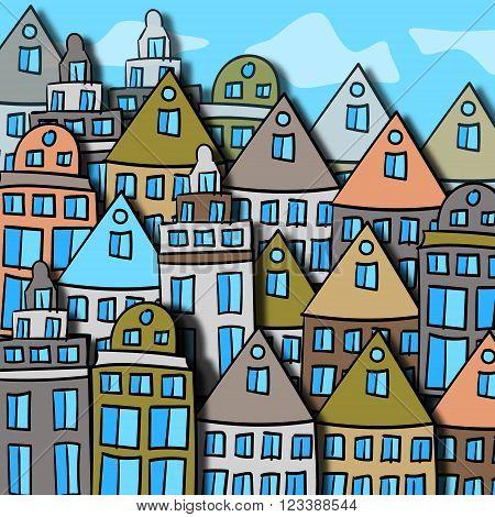 Scandinavian city street color vector illustration. Sloppy sketch