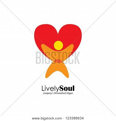 Vector Logo Icon Of Person With Heart Symbol
