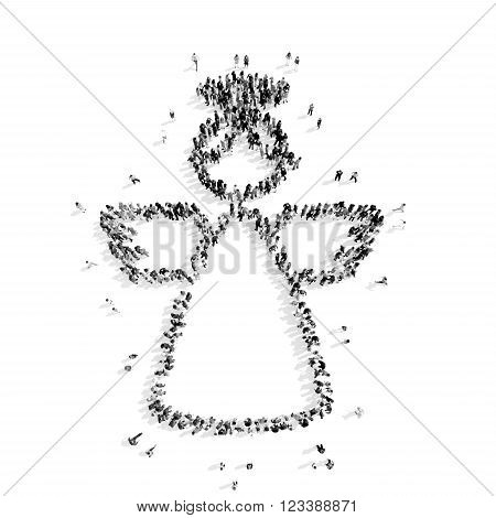 A group of people in the shape of an angel, a flash mob.3D illustration.black and white