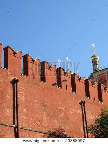 image of one Kremlin wall on sky background