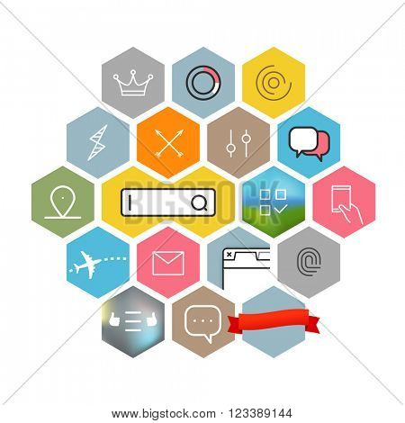Modern web and mobile application pictograms collection. Color lineart intercece icons set