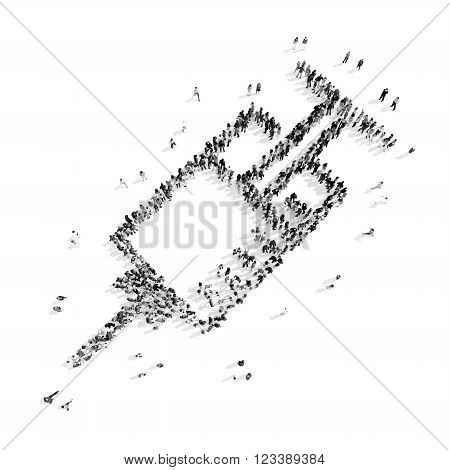 A group of people in the shape of a syringe, medicine, flash mob.3D illustration.black and white