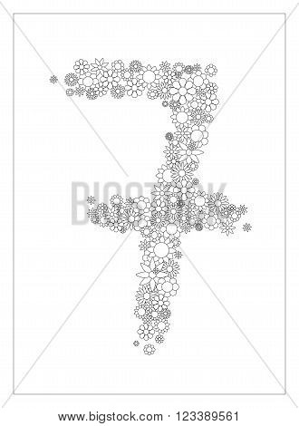 Floral number 7, number seven  from flowers coloring page vector illustration, DIY postcard with the place for text, black and white flower ornament for typography