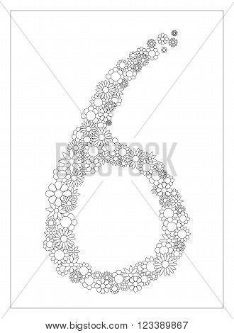 Floral number 6, number six from flowers coloring page vector illustration, DIY postcard with the place for text, black and white flower ornament for typography