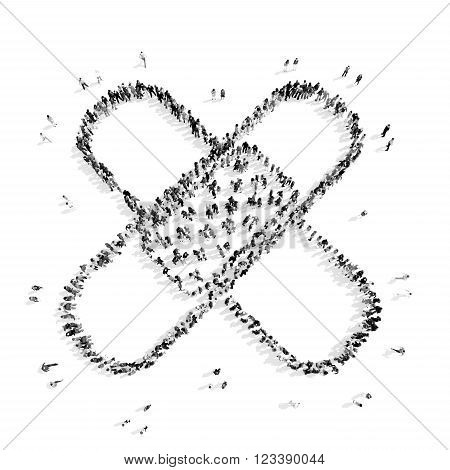 A group of people in the shape of adhesive tape, a flash mob.3D illustration.black and white
