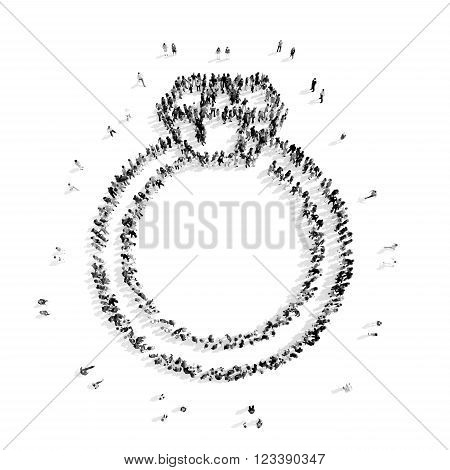 A group of people in the shape of a ring with Briliant, flash mob.3D illustration.black and white