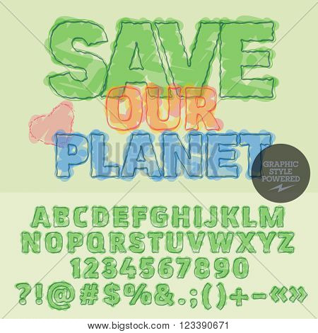 Green poster with slogan Save our planet! Vector set of letters, numbers and symbols