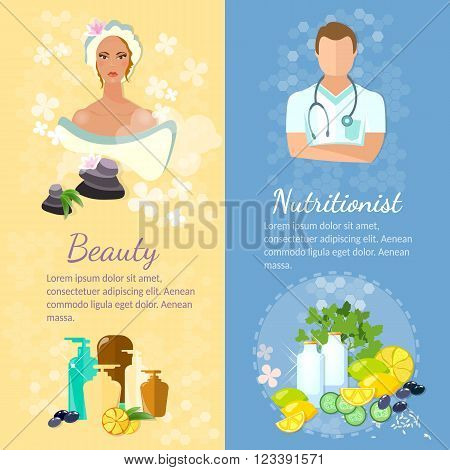 Woman face banner skin care proper nutrition dietetics natural cosmetics