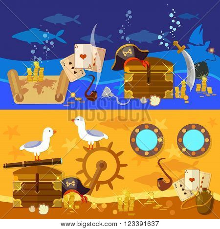 Pirate adventure banners underwater treasure pirate chest with gold