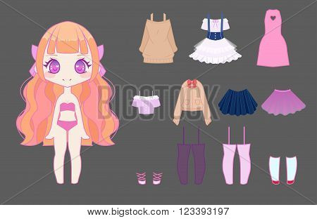 Cute Anime Girl Dress-up Ste