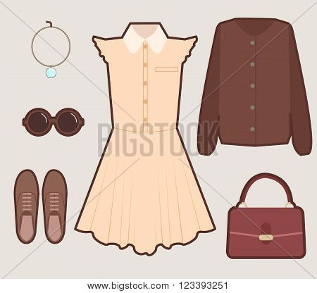 Set of vintage young girl dress look