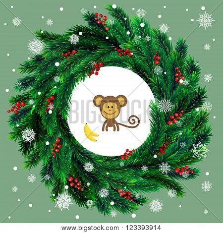 Realistic vector christmas wreath with red berries on evergreen branches and cartoon monkey. 2016 New Year Symbol