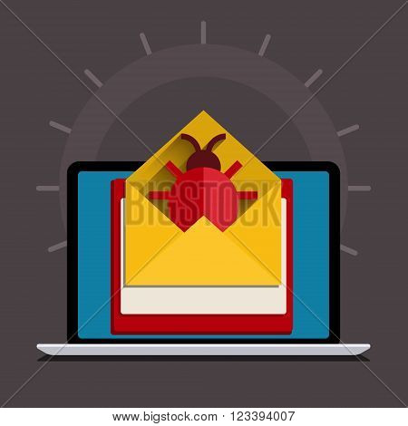 Concept of spam. Bug and virus in the programming code. Hacker activity on computer with bug. Flat design, vector illustration