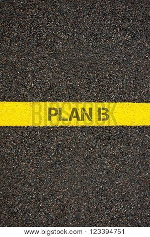 Road Marking Yellow Line With Words Plan B