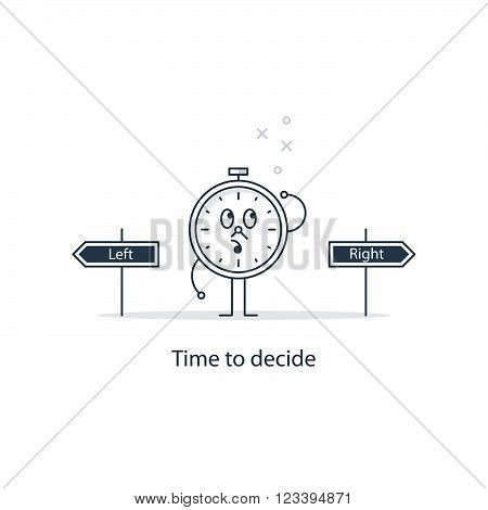 Time to decide concept, linear design illustration
