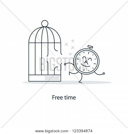 Free time funny concept, linear design illustration